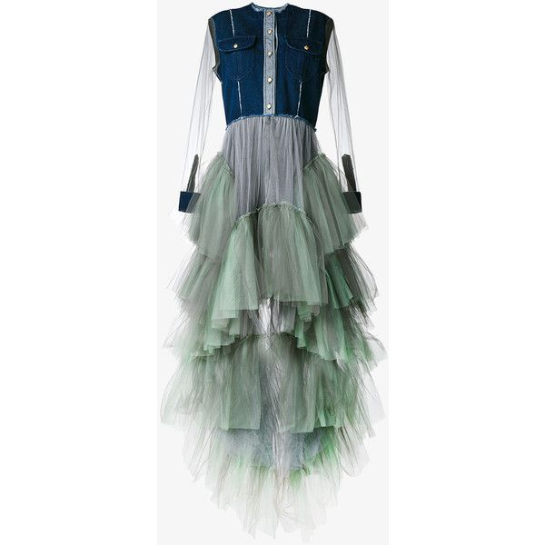 NATASHA ZINKO Long Sleeved Denim Dress with Tulle Skirt ($1,510) ❤ liked on Polyvore featuring dresses, tulle cocktail dress, holiday dresses, green cocktail dress, long-sleeve denim dresses and evening dresses