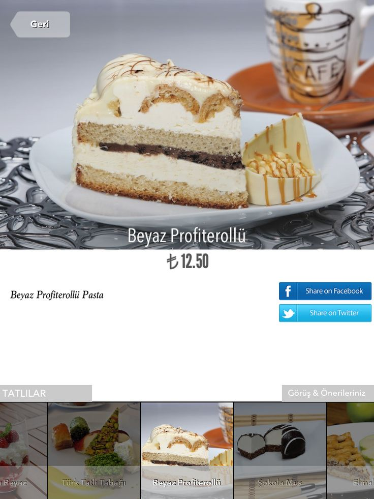 White Chocolate Cake with Profiterole on iPad Restaurant Menu. http://www.finedinemenu.com/