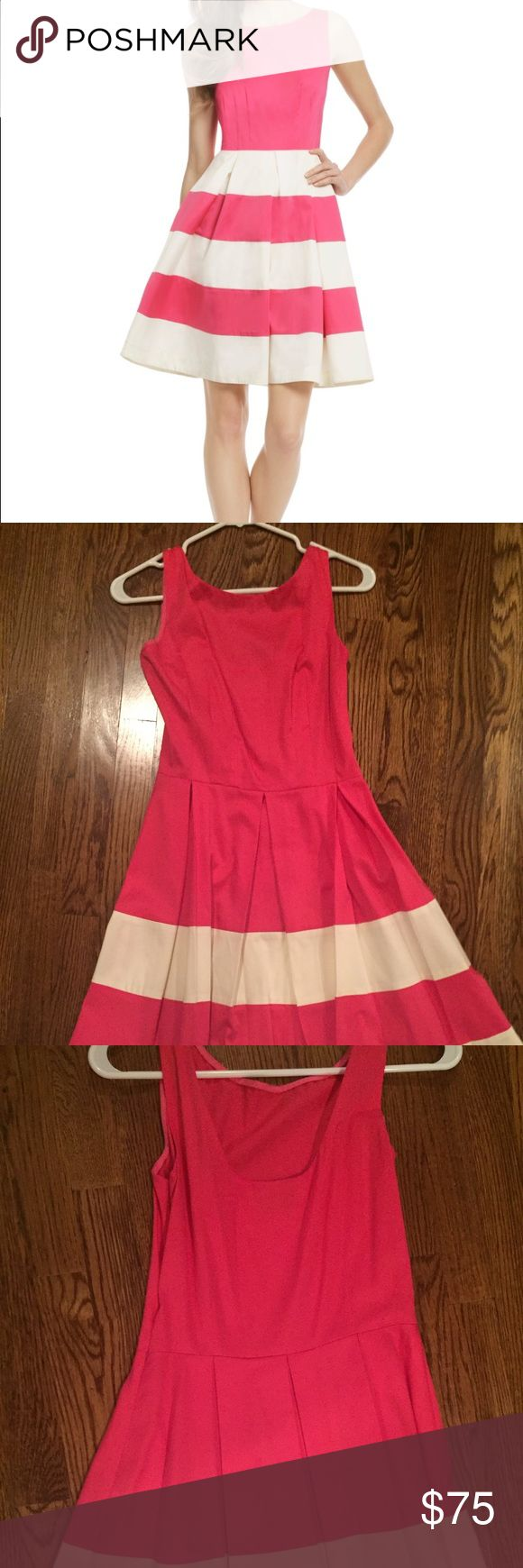 Kate Spade bright pink dress Worn once! A line dress, dips slightly in the back, pleated skirt. Note the pic on the model is very similar but the white stripes on my dress start lower - just on the bottom of the skirt. Pic is just to illustrate fit kate spade Dresses