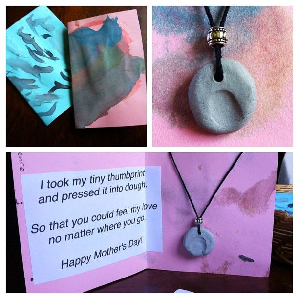 Reggio based preschool made these clay thumbprint necklaces for Mother's Day.