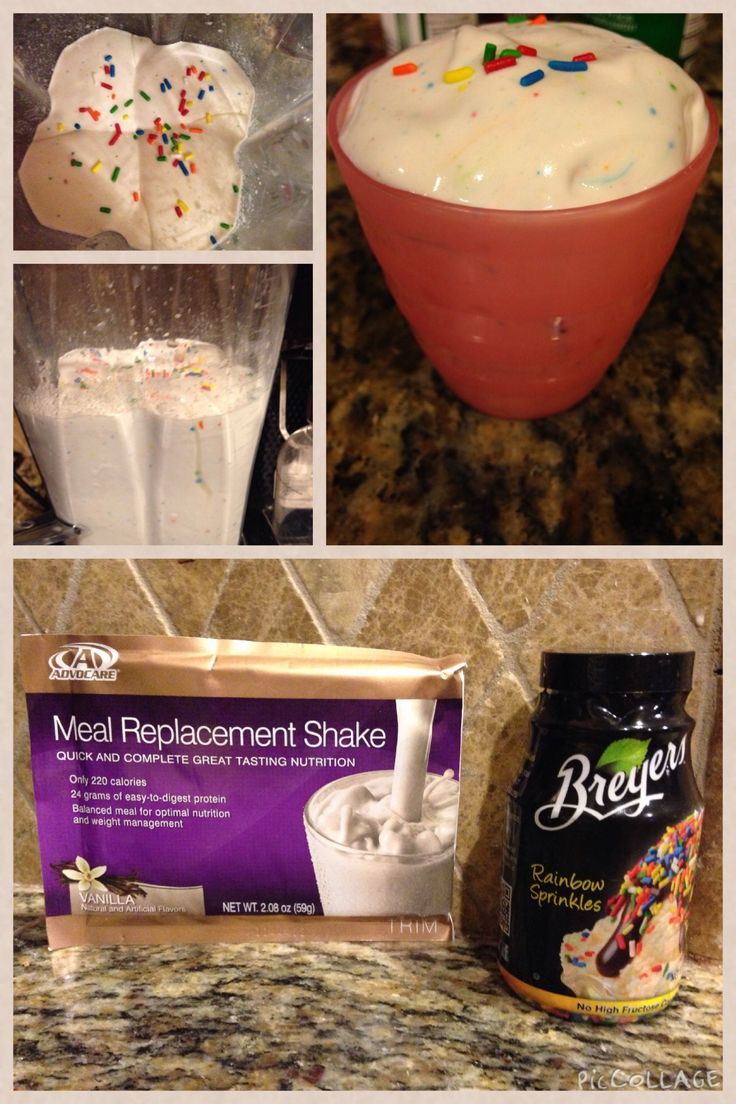 Birthday Cake AdvoCare Meal Replacement Shake. 4oz vanilla almond milk 4 oz water 1 large handful if crushed ice 1 vanilla advocare meal replacement shake mix 1 tablespoon vanilla extract 1 tsp fat free sugar free jello pudding mix  Blend it all up & serve with a dash of sprinkles