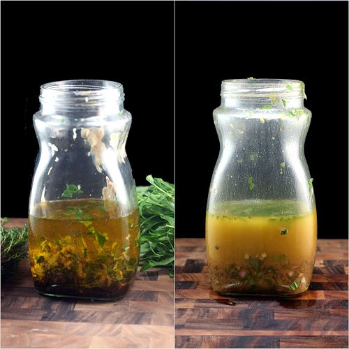 This vinaigrette is amazing. Loaded with garlic, herbs plus honey, dijon, plus a secret ingredient, it elicits raves from all who try it. Dump all the ingredients in a clean, empty jar with a lid, and shake. #vinaigrette #recipe