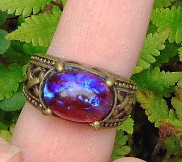 Dragon's Breath Ring Mexican Opal Unisex Ring Red by Steampunkitis, $35.00
