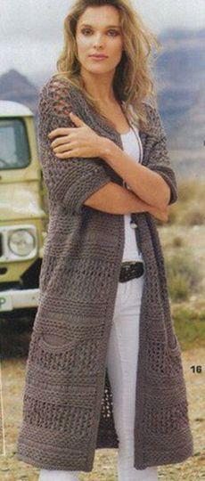 Пальто с рельефными узорами спицами