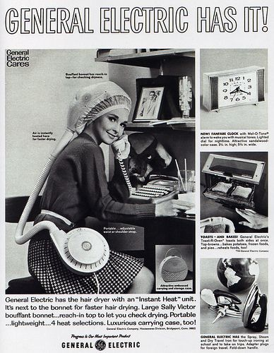 1960s Advertising - Magazine Ad - General Electric Portable Hair Dryer.  I used these in grade school!