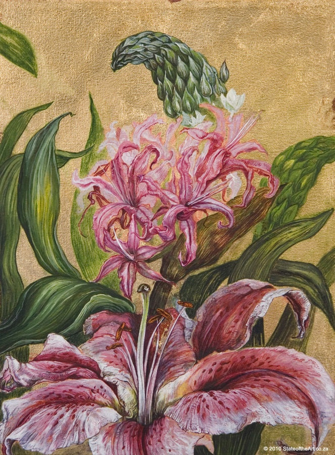 Flower Icon: Stargazer Lily - Limited edition print by Judy Woodborne | StateoftheArt.co.za