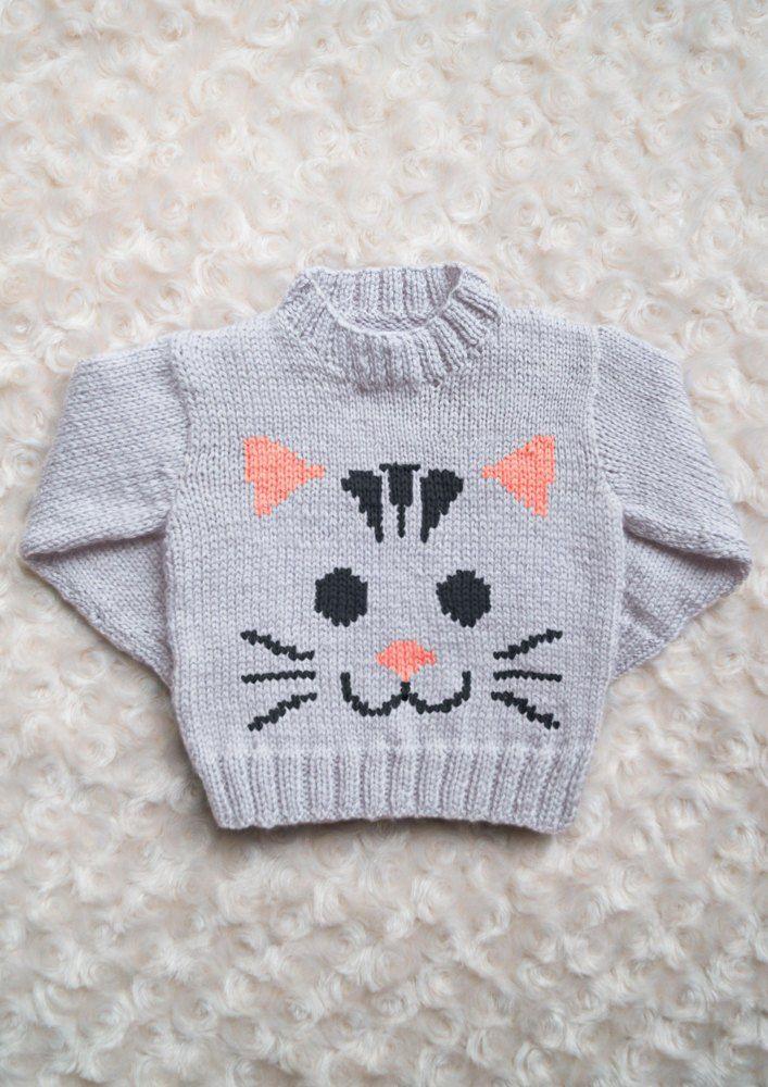 Intarsia - Cat Face Chart - Childrens Sweater Knitting ...