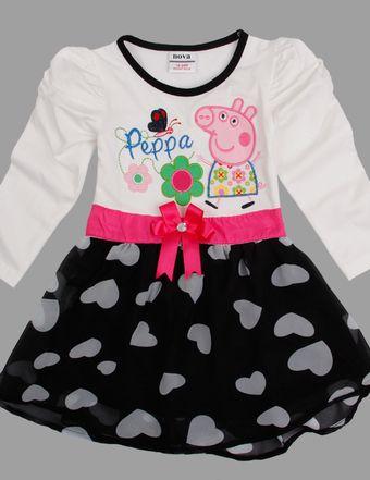 Hermoso vestido Blanco Peppa Pig, Tallas 18 meses a 6 años