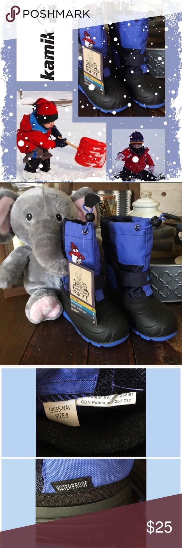 NWT Kamik Winter Boots Toddler New with adorable embroidered snowman.  Waterproof, removable liner & made in the USA!  1st photo contains image from the web for style ideas   Smoke free, hypoallergenic pet friendly home; we have a Morkie    No props included Kamik Shoes Rain & Snow Boots