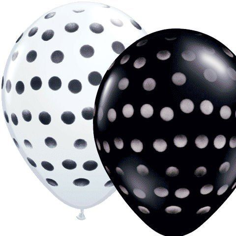 (12) Black & White Polka DOT 11' Latex Balloons Party Decorations. #Black #White #Polka #Latex #Balloons #Party #Decorations