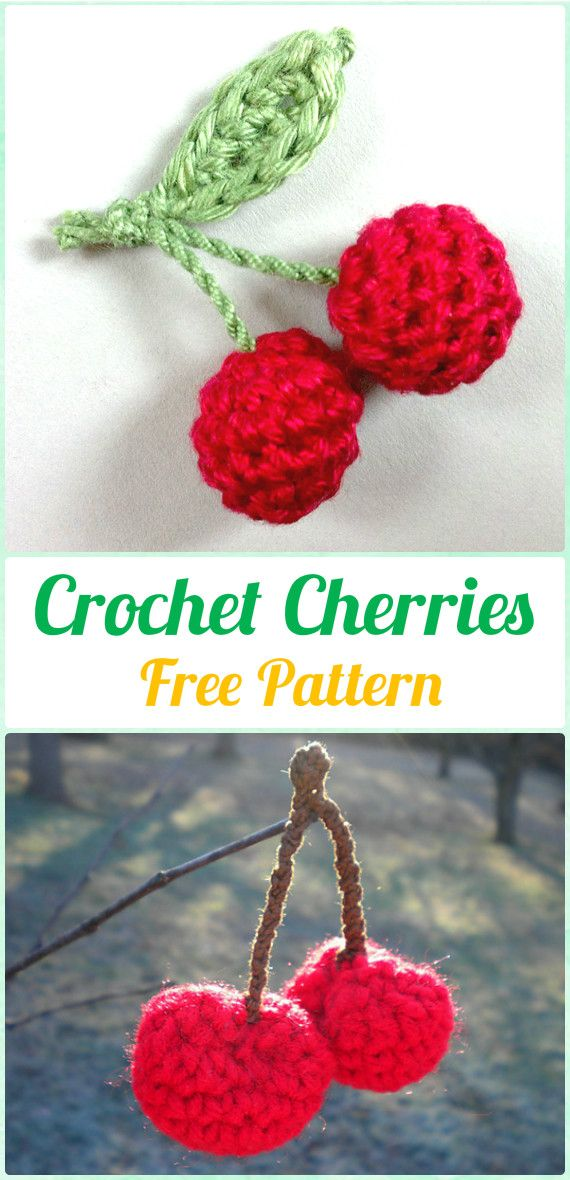Crochet Cherry Free Pattern - Crochet Amigurumi Fruits Free Patterns