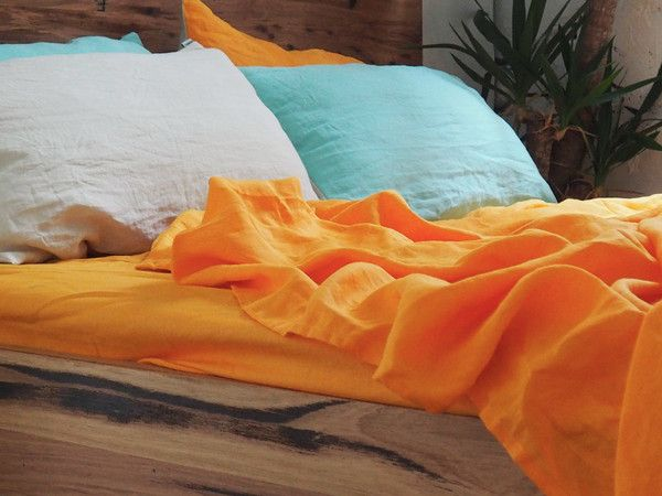 Tangerine Linen Fitted Sheet -  100% French flax linen
