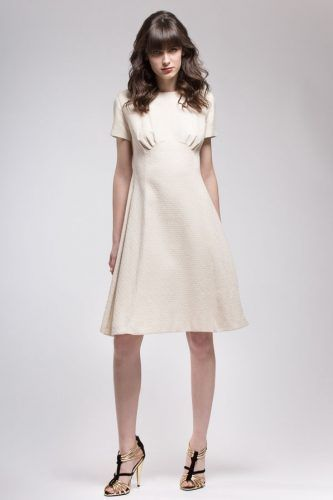Short jacquard dress in natural cotton