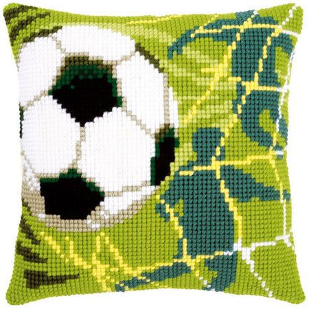 Calling all football mad boys and girls, this football cushion panel kit is for you! Featuring chunky cross stitch, the design features a football hitting the back of the net with a grassy, green coloured background.