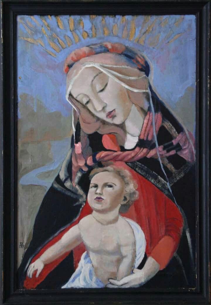 Mary and Jesus, oil on wood, 76H x 50W x 1.0 cm, Aa Art Studio