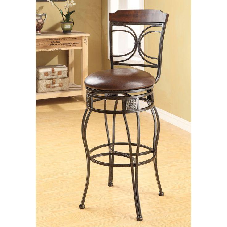 Acme Furniture Tavio Faux Leather Swivel Bar Stool - Set of 2 - 96047