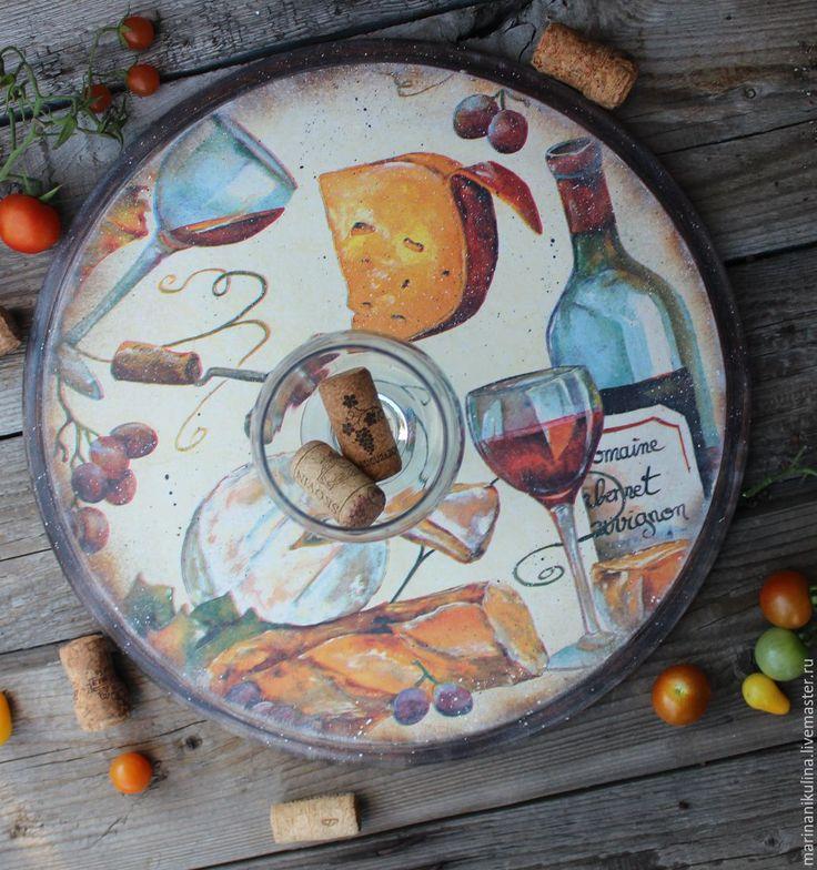"""Купить """"Сыр и вино"""" доска - коричневый, доска круглая, Доска кухонная, доска пицци, вино"""