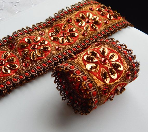 Bollywood RED w/GOLD BEADED Napkin Rings by CustomNapkinRings