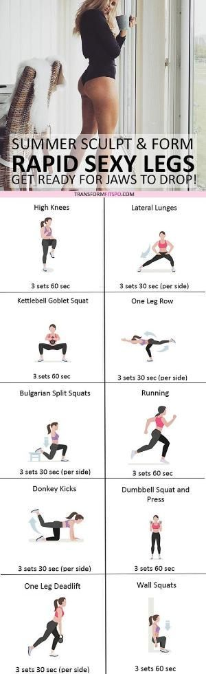 #womensworkout #workout #femalefitness Repin and share if this workout gave you sexy summer legs! Click the pin for the full workout. by tracy sam
