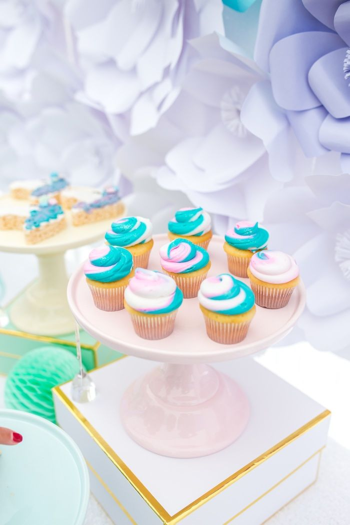 Swirl cupcakes from a Magical Unicorn Birthday Party on Kara's Party Ideas | KarasPartyIdeas.com (28)
