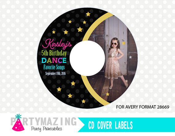 Personalized Dance Party Printable CD Labels for Avery Format 28669 Instant Download -D276 by Partymazing