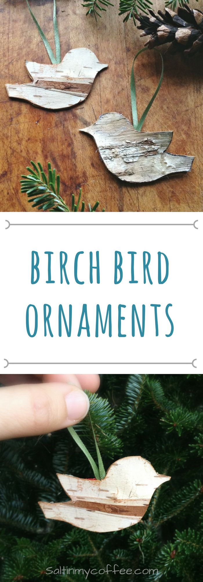 These adorable handmade birch bird ornaments are so easy to make! Craft a whole little flock for your Christmas tree! They also make great gift tags!!