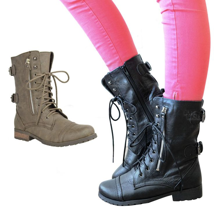 LADIES WOMENS MILITARY BOOTS ARMY COMBAT ANKLE LACE UP FLAT BIKER ZIP SIZES 3-8 | Clothes, Shoes & Accessories, Women's Shoes, Boots | eBay!