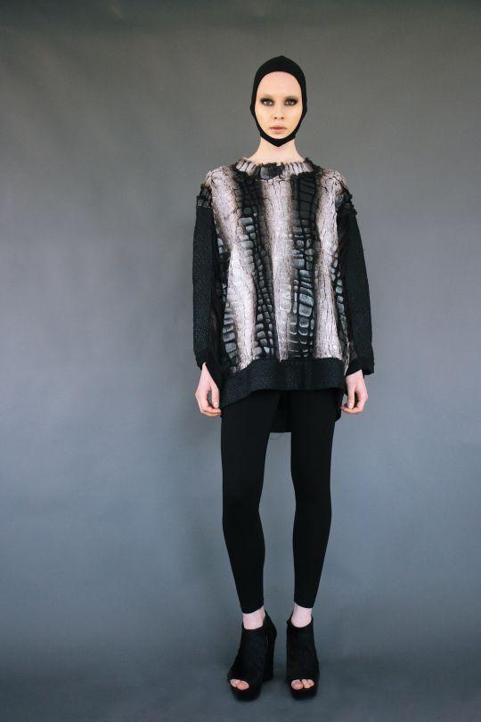 Faux fur blouce with transparent back www.maurizio.gr