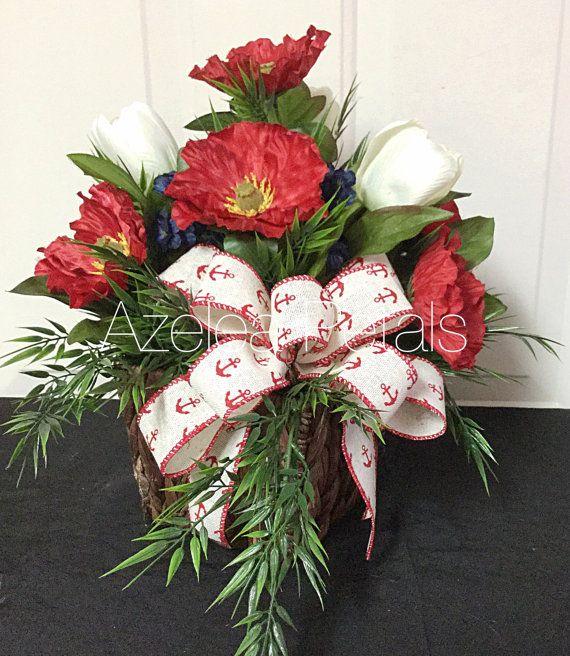 Patriotic floral arrangement nautical anchor centerpiece for Red white blue flower arrangements