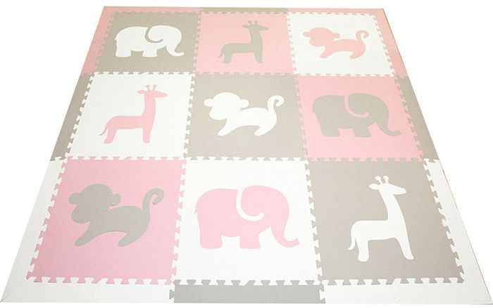 Perfect for a girl's nursery or playroom. This play mat uses our new softer light pink and light gray that works well with current decor color themes.   SoftTiles Safari Animals Kids Play Mat Sets with Borders Light Pink, Light Gray, White