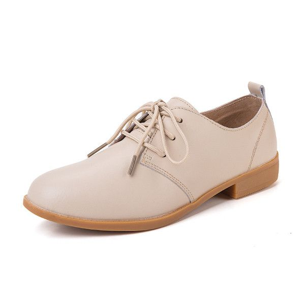 Upper Material: Cow Split Flats Type: Derby Shoes Gender: Women Occasion: Casual Shoe Width: Medium(B,M) Pattern Type: Solid Closure Type: Lace-Up Decorations: Plain Toe Shape: Round Toe Outsole Mater