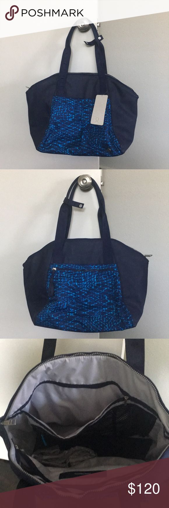 Lululemon Free to Be Bag NWT This is a BEAUTIFUL Lululemon Bag, name of it is FREE TO BE BAG. New, never used, still has the silica pads inside and the removable shoe bag attached (see pics). It's an awesome bag!!!! My hubby got it for me for Christmas as a diaper bag, but I already got one that is specifically a diaper bag. He got it a little while ago at the Lulu store, discounted to $120, so we are selling it discounted as well. Let me know if you have any questions! lululemon athletica…