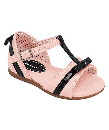 Take a look at this Pink & Black T-Strap Sandal by Pampili on #zulily today!
