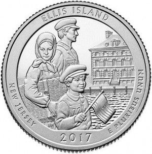 "The U.S. Mint has turned to one of the most famous American landmarks, Ellis Island, for the fourth coin of 2017 in the popular 5-oz. Silver America the Beautiful (""ATB"") Series. Adjacent to the Statue of Liberty, the two inseparable American symbols mark the arrival destination for over 12 million immigrants between 1892 and 1954. Nearly half of our American ancestors were processed through Ellis Island in that sixty year span; an event depicted in this coin's reverse design of a family…"