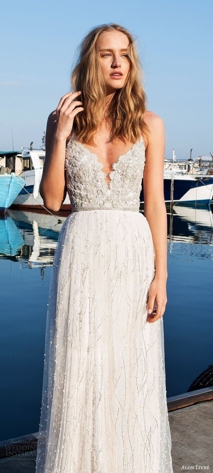 Alon Livne White 2017-2018 Wedding Dress with sleeveless thin straps sweetheart heavily embellished lace a line wedding dress
