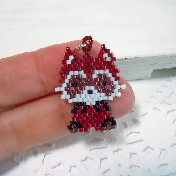 Red Panda Seed Bead Charm - Brick Stitch Bead Weaving - Cute Animal Jewelry