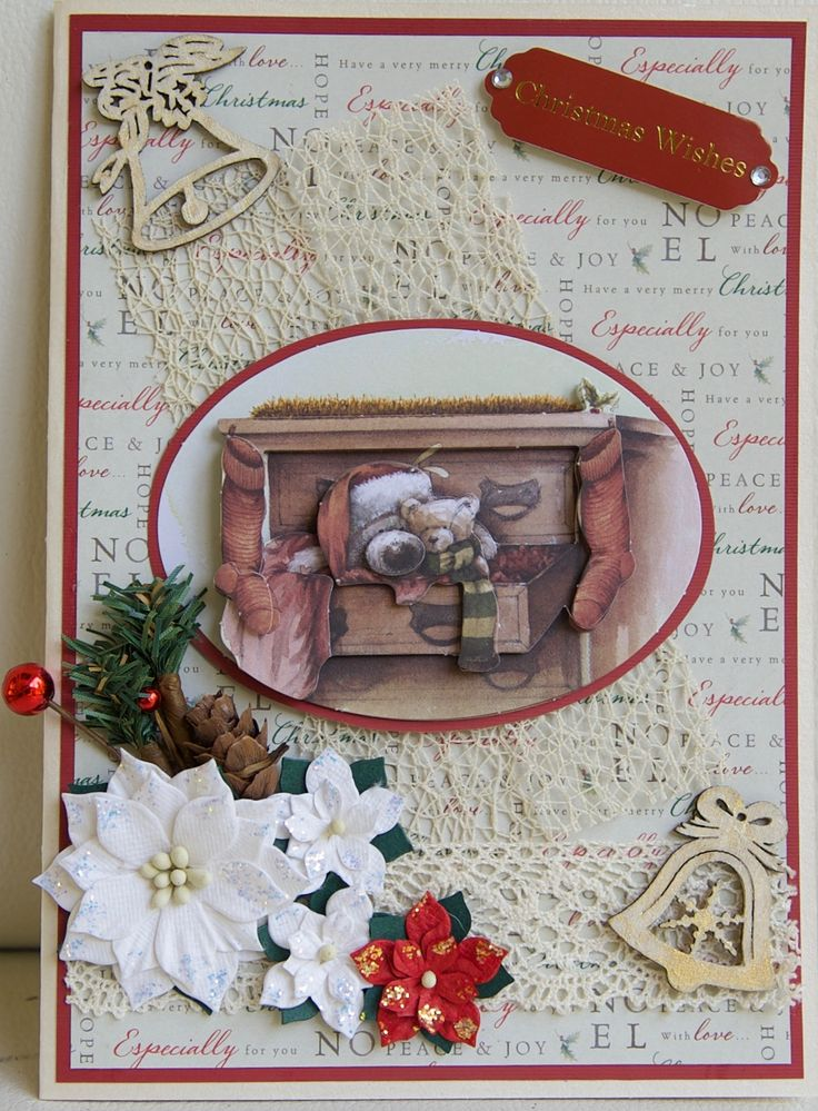 Christmas card 2016: Docrafts Christmas with Wellington paper and decoupage; Petaloo flowers - added Stickles; Dovecraft message tag; wooden bells sprayed with Bo Bunny gold glitter spray