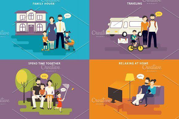 ilustraciones planas familiares conjunto # 5 - Ilustraciones
