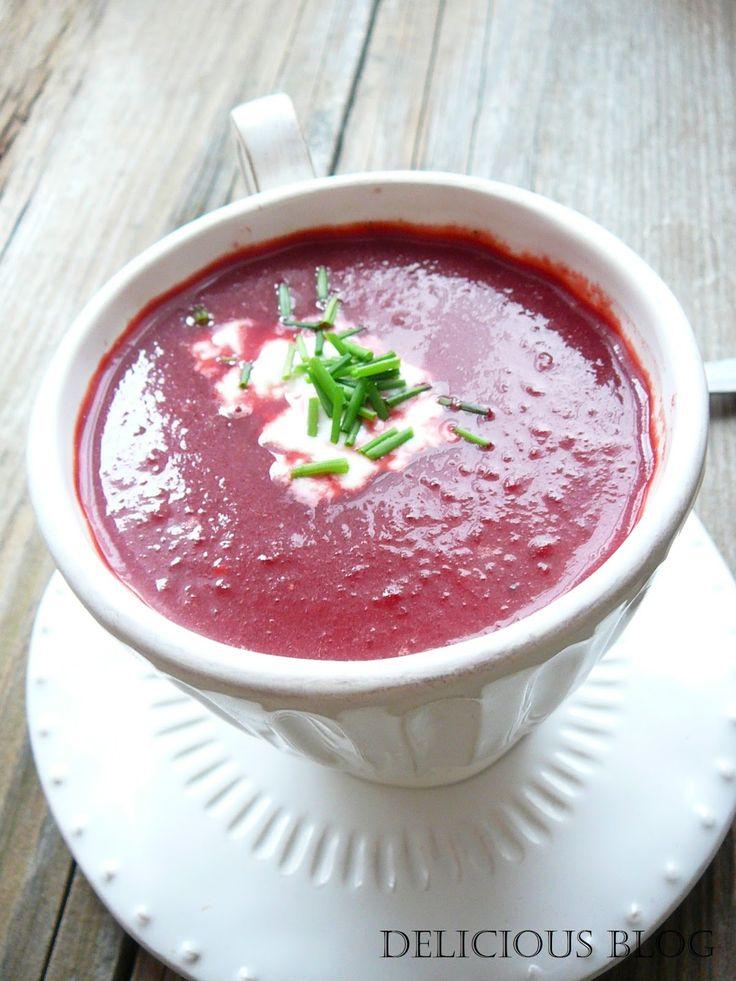 Delicious blog: Polévka z červené řepy s jogurtovo-křenovým nočkem