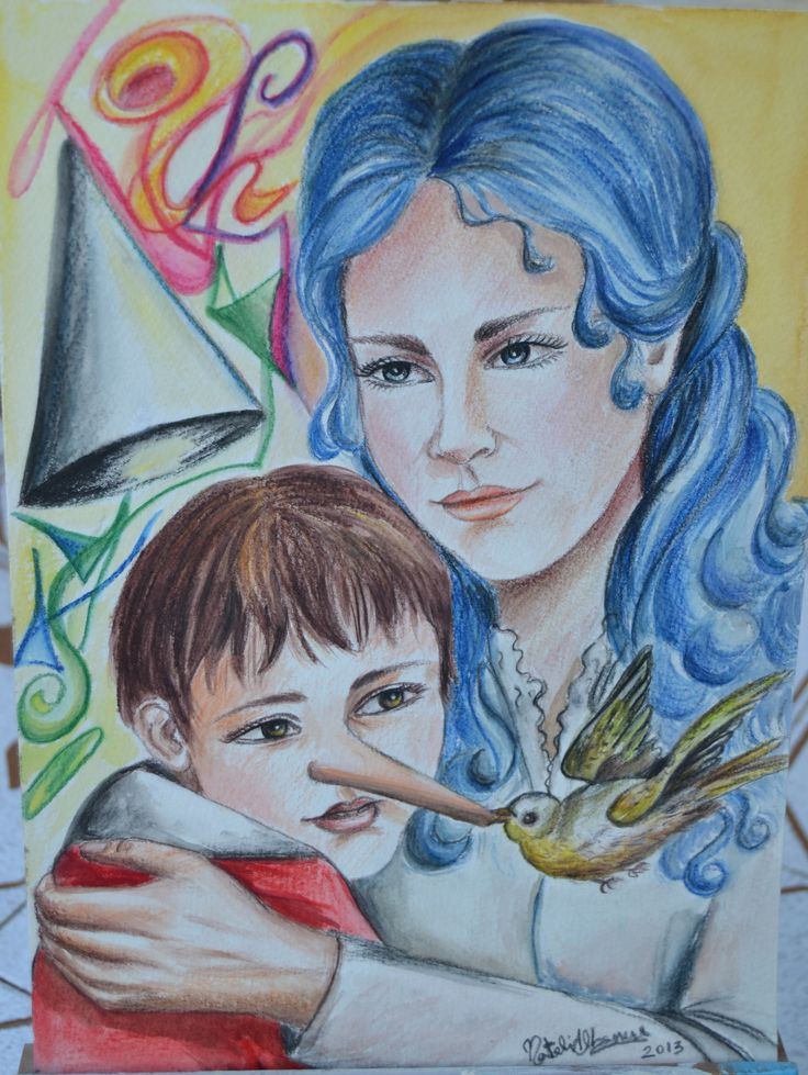 pinocchio e la fatina matite e acquarelli cartoncino A4 2013 autore Natalia Albanese