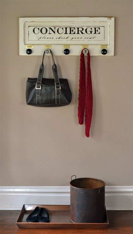 Use this unique wall mounted salvage coat rack to organize your coats and  bags! Made