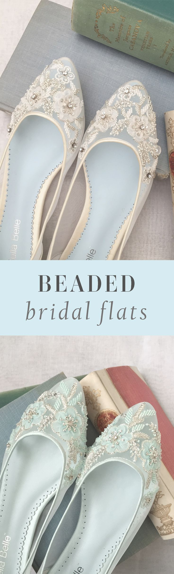 Bella Belle Glamorous Beaded Bridal Flats - Shop comfortable and pretty wedding flats #flats