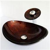 Glas Waschbecken Set Bad Oval mit Wasserfall Wasserhahn zu günstigen Preisen kaufen