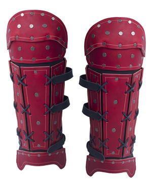 Samurai Leather Greaves - Red