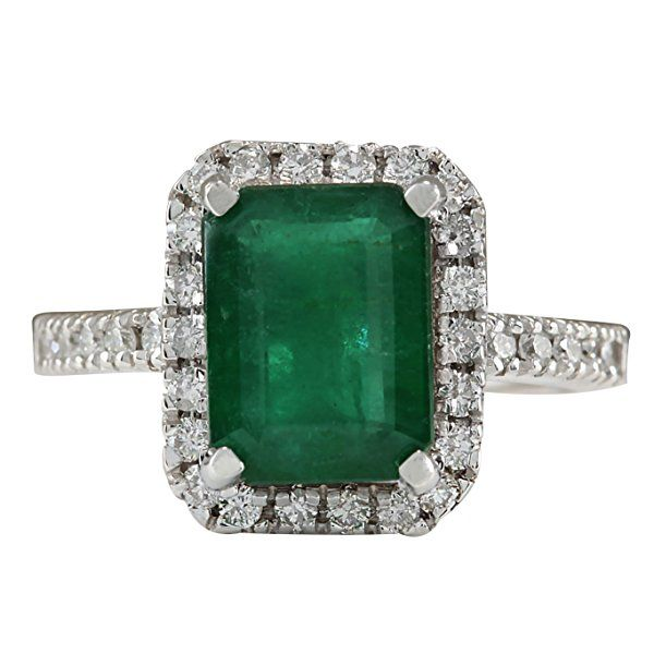 3.61 Carat Natural Emerald And Diamond Ring In 14K White Gold