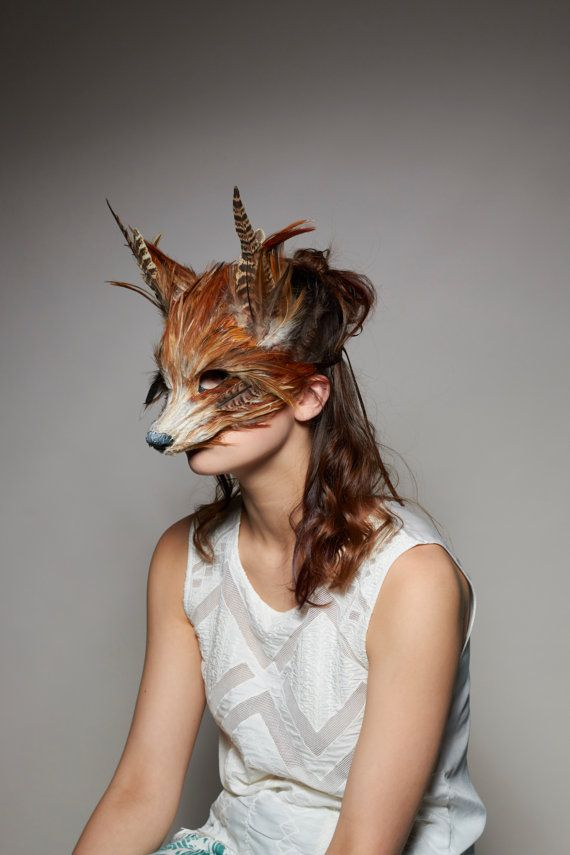 Handmade Red Fox Mask Woodland Fox Mask Festival by CuriousFair