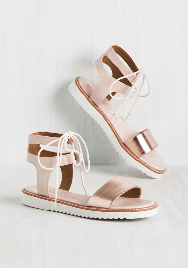 Committing Pretty Sandal by BC Footwear - Blush, Solid, Cutout, Casual, Beach/Resort, Minimal, Summer, Flat, Better, Lace Up, Rose Gold, Metallic, Faux Leather
