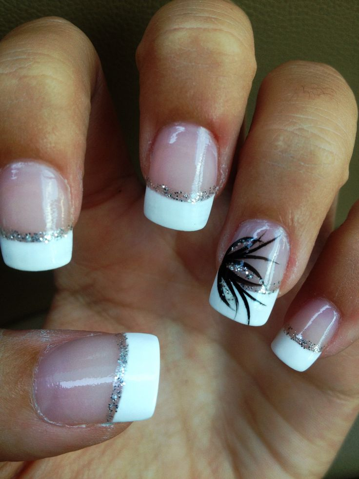 Classy nails acrylic nails french sparkles nailart for Classy designs