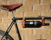 """Bicycle Wine Rack, Leather  - 1"""" top tube frame"""