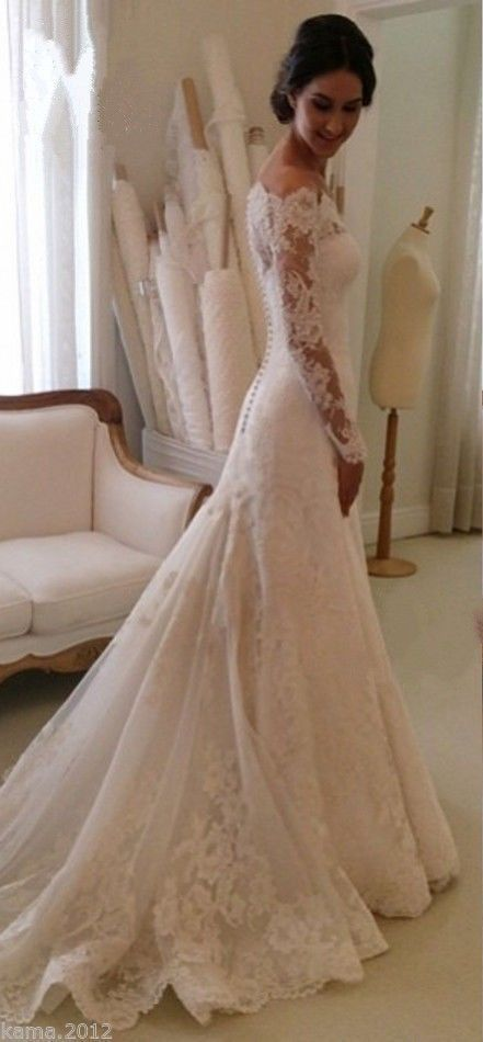 Lace Long Sleeves Mermaid Wedding Dresses Off Shoulder Elegant Bridal Dresses…